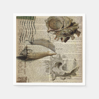 coastal modern vintage french botanical seashell paper napkins