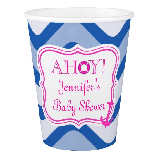 Coastal nautical beach sea girly pink paper cup