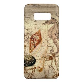 Coastal Nautical Map botanical seahorse seashell Case-Mate Samsung Galaxy S8 Case