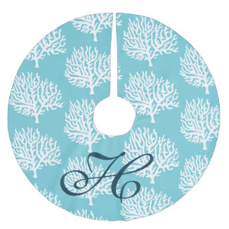 Coastal Nautical White Sea Coral Family Initial Brushed Polyester Tree Skirt