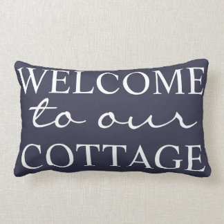 Coastal Navy Welcome To Our Cottage - Family Name Lumbar Pillow