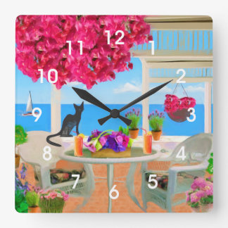 Coastal Ocean Veranda Scene Wall Clocks