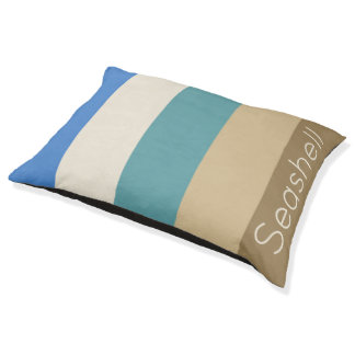 Coastal Palette Stripes Personalized Pet Bed