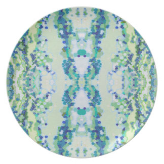 Coastal Pastel Blue Green dotted Melamine Plate