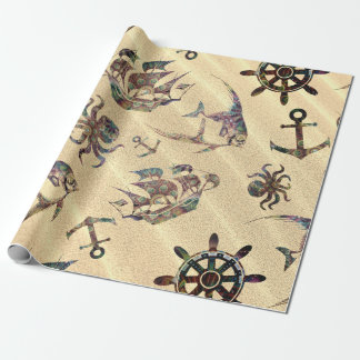Coastal pattern on sand wrapping paper