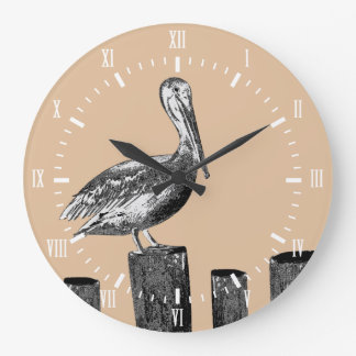 Coastal Pelican Taupe with White Roman Numerals Large Clock