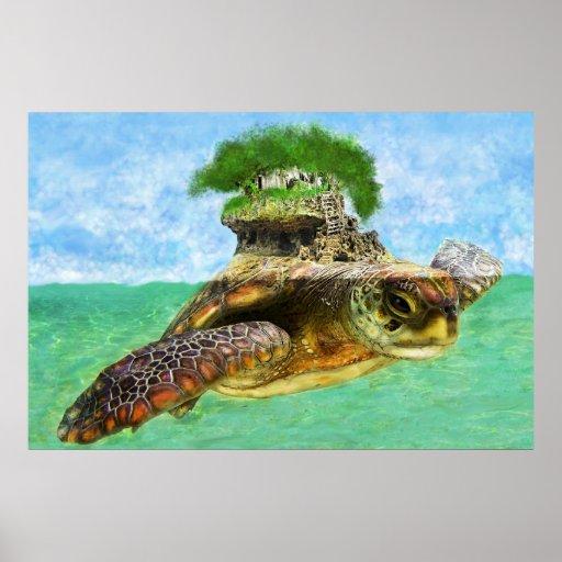 Coastal -Sea Turtle Island Poster
