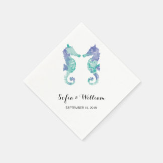Coastal Seahorse Watercolor | Wedding Disposable Napkin