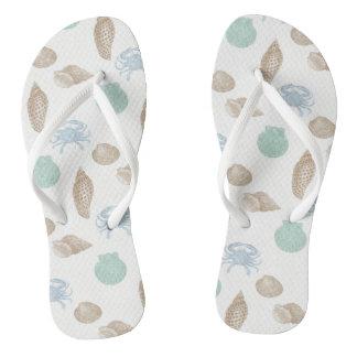 Coastal Seashells Pattern Flip Flops