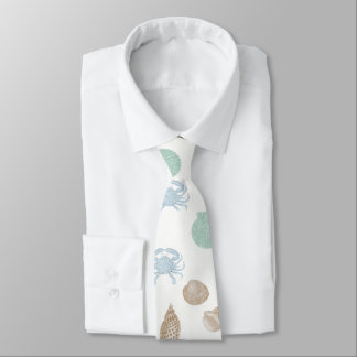 Coastal Seashells Pattern Tie