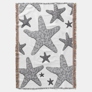 Coastal Starfish Throw Blanket Gray