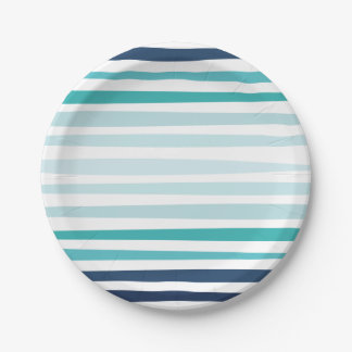 Coastal Stripe Party Plates 7 Inch Paper Plate
