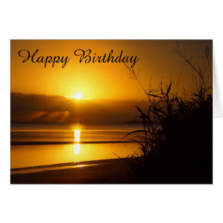 Coastal sunrise blank birthday card