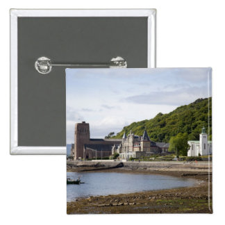 Coastal view with historic buildings, Oban, 2 Inch Square Button