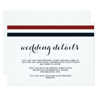 Coastal Wedding Blue Red and White Guest Details Card