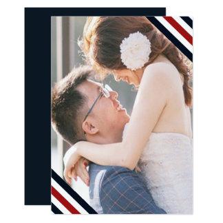 Coastal Wedding Nautical Stripes Blue Red Photo Card