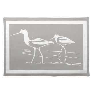 Coastal White Sandpipers & Gray Placemat