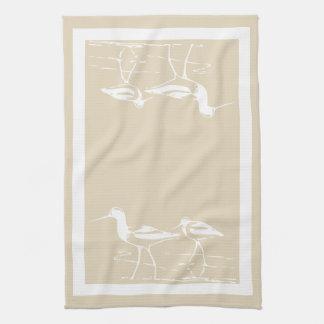 Coastal White Sandpipers & Sandy Taupe Kitchen Towel