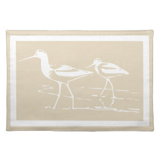 Coastal White Sandpipers & Taupe Placemat
