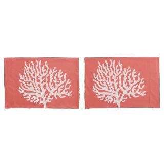 Coastal White Sea Coral & Coral Pink Pillowcase