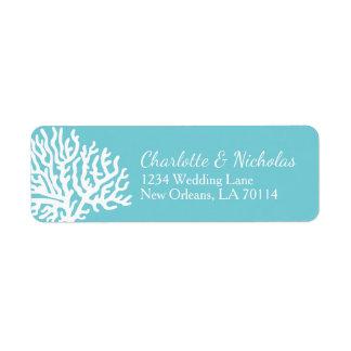 Coastal White Sea Coral Couple's Names Wedding Return Address Label