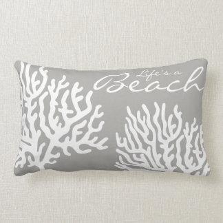 Coastal White Sea Coral Life's a Beach Lumbar Pillow