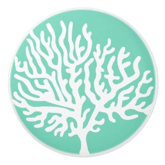 Coastal White Sea Coral & Sea Glass Green Ceramic Knob