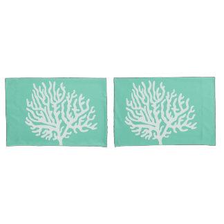 Coastal White Sea Coral & Sea Glass Green Pillowcase