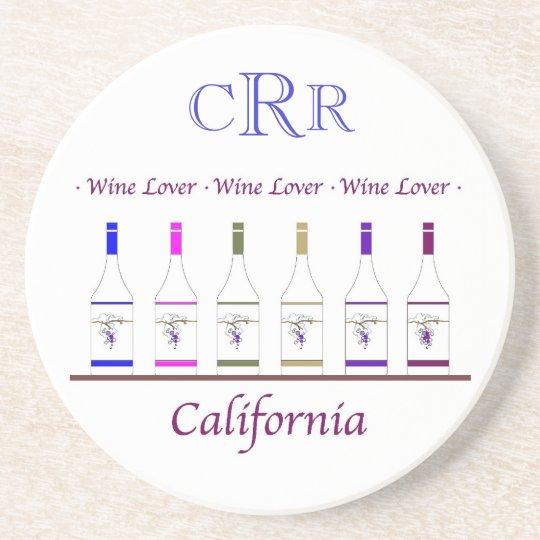 COASTER_CALIFORNIA WINE LOVER , MONOGRAM COASTER