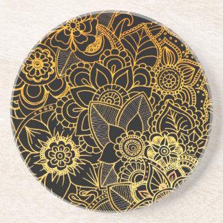Coaster Floral Doodle Gold G523