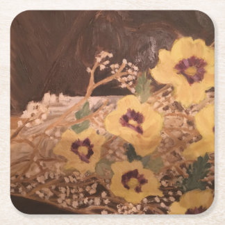 Coaster/ Flowers with a Log Square Paper Coaster