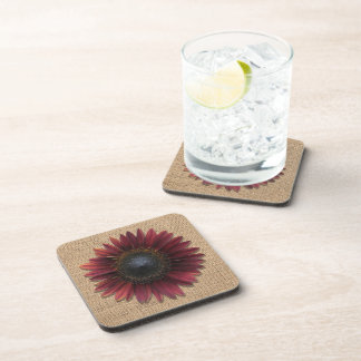 Coaster - Hard Plastic - Burlap Bordeaux Sunflower