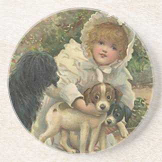 Coaster Victorian Girl Finding Saving Stray Dogs