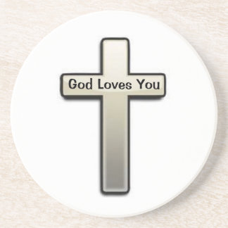 Coaster White Silver Cross God Loves You