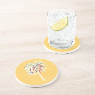 Coaster Yellow Canary Palm Tree- Sandstone Coaster