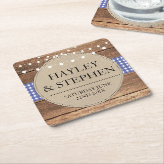 Coasters Blue Check Lights Rustic Wedding Party