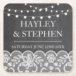 Coasters Chalk Lace Lights Rustic Wedding Party