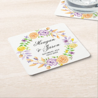 Coasters Flowers Wedding Purple Event Drinks Party