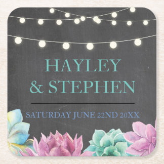 Coasters Pastels Succulents Rustic Wedding Party