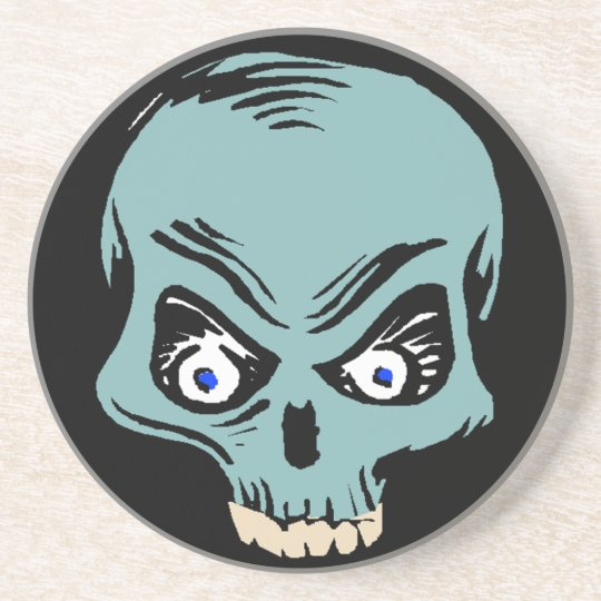 Coasters Skull half teal freaky scary gifts gift