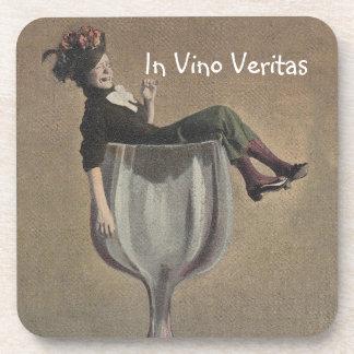 Coasters Vintage Party Girl Wine In vino veritas