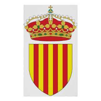 Coat Arms Cataluña Official Spain heraldry Symbol Poster
