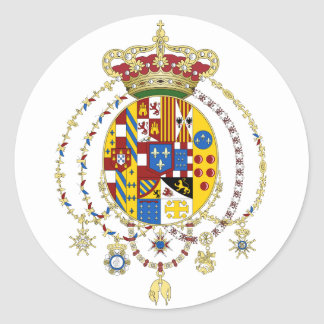 Coat  Arms Kingdom of Two Sicilies Official Italy Round Sticker