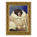 Coat Monkey in a Gold Frame Poster