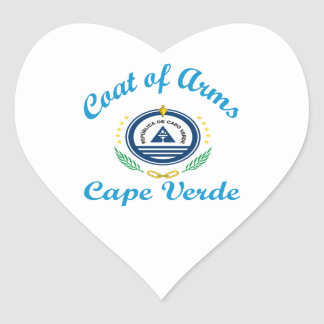 Coat Of Arms Cape Verde Heart Stickers