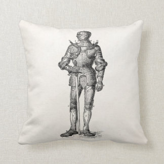 Coat of Arms Knight Shining Armor Sword Medieval Throw Pillow