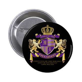 Coat of Arms Monogram Emblem Golden Lion Shield 2 Inch Round Button
