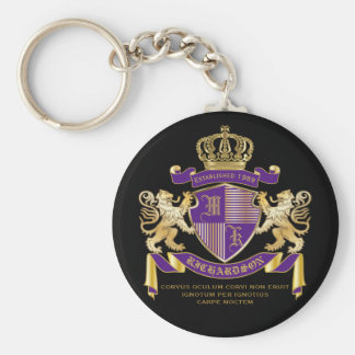 Coat of Arms Monogram Emblem Golden Lion Shield Basic Round Button Keychain