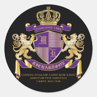 Coat of Arms Monogram Emblem Golden Lion Shield Classic Round Sticker