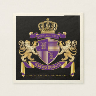 Coat of Arms Monogram Emblem Golden Lion Shield Disposable Napkin